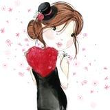 Leuk meisje met rood hart De dag van de valentijnskaart royalty-vrije illustratie