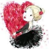 Leuk meisje met rood hart De dag van de valentijnskaart stock illustratie