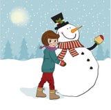 Leuk meisje met sneeuwman royalty-vrije illustratie