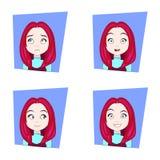 Leuk Meisje met Verschillende Gezichtsemotiesreeks Jonge Rode het Gezichtsuitdrukkingen van de Haarvrouw Stock Foto's