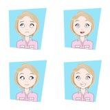 Leuk Meisje met Verschillende Gezichtsemotiesreeks Jonge Uitdrukkingen van het Vrouwengezicht Stock Afbeeldingen