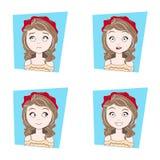 Leuk Meisje met Verschillende Gezichtsemotiesreeks Mooie Uitdrukkingen van het Vrouwengezicht Stock Afbeelding