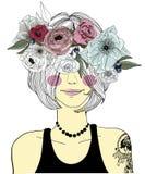 Leuk meisje met vlecht en bloemen royalty-vrije illustratie