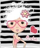 Leuk meisje met wit haar vector illustratie