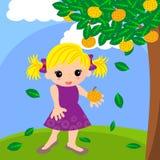 Leuk meisje in oranje landbouwbedrijfbeeldverhaal Stock Afbeelding