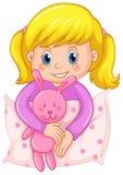 Leuk meisje in purpere pyjama's stock illustratie