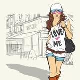 Leuk meisje in schets-stijl. Stock Fotografie