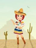 Leuk Mexicaans meisje vector illustratie