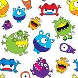 Leuk Monster Naadloos Patroon Stock Afbeelding
