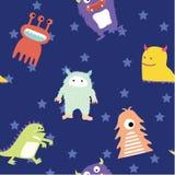 Leuk Monster Naadloos Patroon Stock Foto's