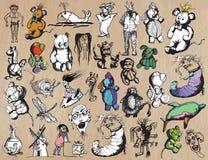 Leuk monsterspak - tekeningen uit de vrije hand Vector Pak Royalty-vrije Stock Foto