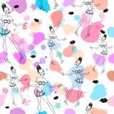 Leuk mooi abstract naadloos patroon met meisjes, lippen, kussen en plons stock illustratie