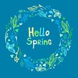 Leuk mooi bloemenkader met de lente van uitdrukkingshello stock illustratie