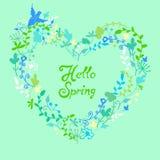 Leuk mooi bloemenkader met de lente van uitdrukkingshello royalty-vrije illustratie