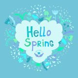 Leuk mooi bloemenkader met de lente van uitdrukkingshello vector illustratie
