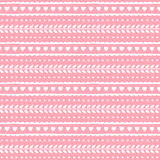 Leuk mooi naadloos patroon voor valentijnskaart of huwelijksontwerp Harten en bladeren op zachte roze achtergrond Vector textuur Stock Foto