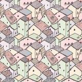 Leuk naïef huis naadloos vectorpatroon Stadspatroon De tekening van de jonge geitjesstijl Stock Fotografie