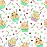 Leuk naadloos bevroren yoghurtpatroon Zoet koud desserts vectorontwerp Stock Afbeelding