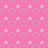 Leuk naadloos die patroon met harten en sterren door watercolourborstel worden getrokken Schets, graffiti, verf Vector illustrati stock fotografie