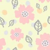 Leuk naadloos patroon met bloemen, bladeren en ronde vlekken Getrokken door hand Pastelkleurschets Stock Foto's