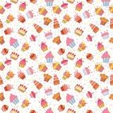 Leuk naadloos patroon met cupcakes De achtergrond van de verjaardagspartij Stock Fotografie