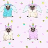 Leuk naadloos patroon met eenhoornpug honden, pootdruk, sterren en harten royalty-vrije stock afbeelding