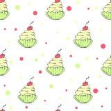 Leuk naadloos patroon met getrokken hand cupcakes Royalty-vrije Stock Fotografie