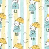 Leuk naadloos patroon met grappige kat en paraplu Vector af:drukken stock illustratie