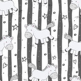 Leuk naadloos patroon met grappige poney Vector illustratie Stock Foto's