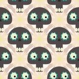 Leuk naadloos patroon met grappige schedels en bloemen Royalty-vrije Stock Foto