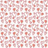 Leuk naadloos patroon met hand-drawn harten Stock Afbeelding