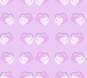 Leuk naadloos patroon met hand-drawn harten Stock Fotografie