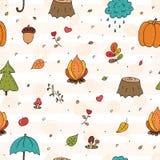 Leuk naadloos patroon met Hand getrokken Leuk Autumn Floral Forest Design Elements Royalty-vrije Stock Foto's