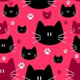 Leuk naadloos patroon met katten Royalty-vrije Stock Afbeeldingen