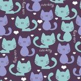 Leuk naadloos patroon met katten Royalty-vrije Stock Afbeelding