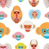 Leuk naadloos patroon met kleurrijke beeldverhaalapen Stock Afbeelding