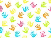 Leuk naadloos patroon met kleurrijke palmdrukken Vector illustratie Royalty-vrije Stock Afbeelding
