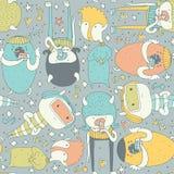 Leuk naadloos patroon met mooie krabbelmonsters die, en toeschouwer blijven bekijken eten Kleurrijke schepselen op grijze achterg Royalty-vrije Stock Afbeeldingen