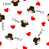 Leuk naadloos patroon met pug hond, tekst I liefde en rood hart, transparante achtergrond vector illustratie