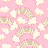 Leuk naadloos patroon met regenboog en hemel vector illustratie