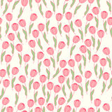 Leuk naadloos patroon met roze tulp op een roomachtergrond naughty vector illustratie