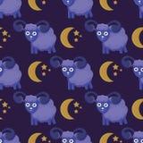 Leuk naadloos patroon met sheeps in de wolken stock illustratie
