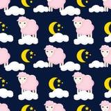 Leuk naadloos patroon met sheeps in de wolken royalty-vrije illustratie