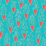 Leuk naadloos patroon met vele kleine takjes abstracte bloemen en driehoekenvazen Royalty-vrije Stock Afbeelding