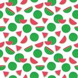 Leuk naadloos patroon met watermeloenen Royalty-vrije Stock Afbeeldingen