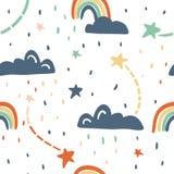 Leuk naadloos vectorpatroon met sterren, regenboog, wolken vector illustratie