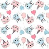 Leuk naadloos verjaardagspatroon met katten, konijntjes en ballons i stock illustratie