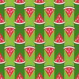 Leuk naadloos watermeloenpatroon Stock Foto