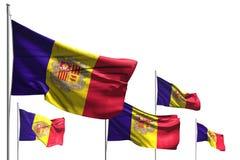 Leuk om het even welke 3d illustratie van de vieringsvlag - vijf vlaggen van Andorra die isoleren op wit golven stock illustratie