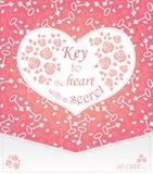 Leuk ontwerp voor groetkaart met hart en rozen en sleutels Stock Foto